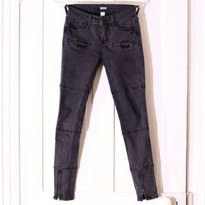 UO Black Moto Ankle Zip Skinny Lightweight Jeans